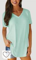 VONDA Cuello Pico Graphic tee Camiseta para Mujer Casual Loose Fit Túnica Tops para Verano