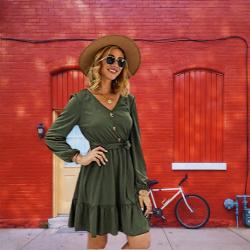 Vestido barato por menos de 20 euros. Vestido verde. Manga Larga T De Las Mujeres Cóctel Vestido A Media Pierna con Cuello En V Elástico Vestido Ocasional Vestido Cruzado De La Playa