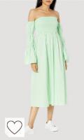 Vestido mujer color verde menta. Marca Amazon - Ella Vestido Midi Con Mangas Abombadas Y Hombros Descubiertos - dresses Mujer por The Drop