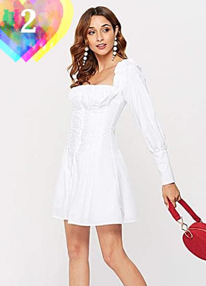 Vestido Informal De Manga Larga para Mujer, Minivestido Blanco con Cuello Cuadrado para Mujer, Vestidos Elegantes Cortos Sexis con Volantes De Otoño