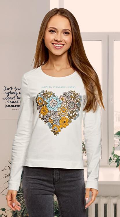 Camiseta estampado de flores. oodji Ultra Mujer Suéter de Algodón con Estampado