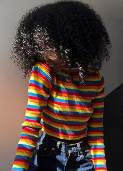 Aawsome Suéter de manga larga para mujer de otoño de cuello alto colorido rayas arco iris corto tops bodycon, acanalado básico jersey jersey jersey