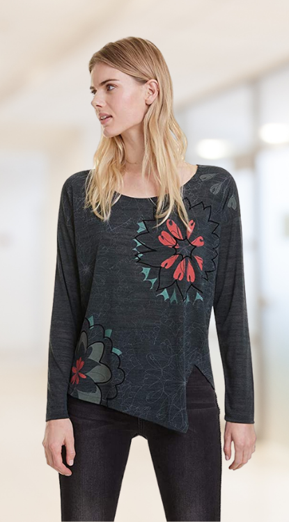 Camiseta Mujer estampado de flores. Desigual T-Shirt Alanis Camiseta para Mujer