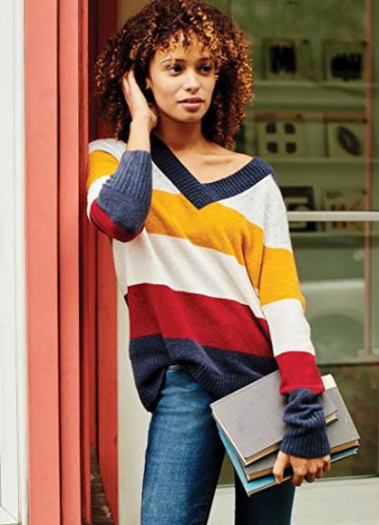 Marca Amazon - Goodthreads Mid-Gauge Stretch V-Neck Sweater Mujer