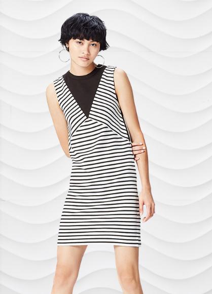 Marca Amazon - find. Vestido Midi de Rayas para Mujer