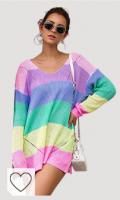 Jersey mujer rayas de colores. PROTAURI Cárdigan suéter para Mujer - Blusas de Punto de Manga Larga con Frente Abierto y Abrigo de impresión de Punto de Onda