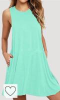 Vestido verano mujer color verde menta. Tendencias en colores para primavera verano 2021. OMZIN Mujer Vestido Casual básico Vestido sin Mangas de Ocio Túnica de Verano Vestido Sexy S-XXXL