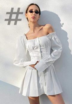 Tendencias Moda Mujer Primavera-Verano 2021 Am azon Fashion Mujer.. Vestido Informal De Manga Larga para Mujer, Minivestido Blanco con Cuello Cuadrado para Mujer, Vestidos Elegantes Cortos Sexis con Volantes De Primavera