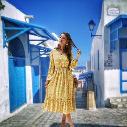 Vestidos primavera-verano 2021 baratos por menos de 20 euros. De Las Mujeres Cóctel De Manga Larga Elástico Vestido A Media Pierna con Cuello En V De Una Pieza De Alta Bajo del Vestido Casual para Viajes