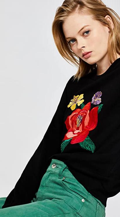 Sudadera Mujer Negra estampado de flores. Marca Amazon - find. Paris Embroidered Sudadera Mujer