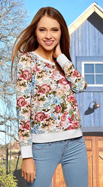 Suéter Mujer con flores. oodji Ultra Mujer Suéter Básico Estampado