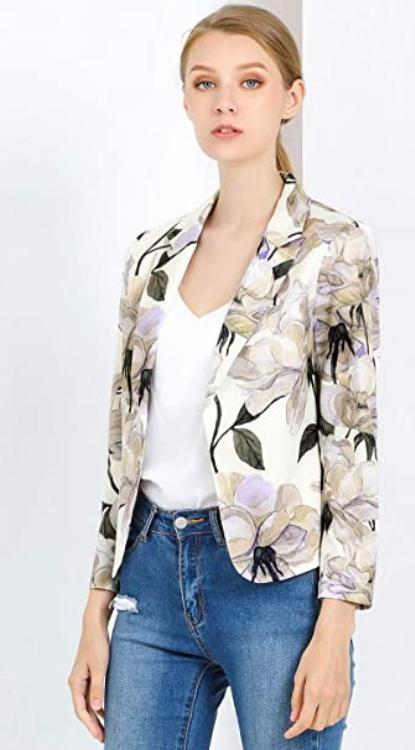 Allegra K Chaqueta Blázer para Mujer Forro De Contraste Frente Abierto Estampado Floral