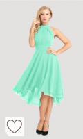 Vestido de fiesta color verda menta. Tendencias colores de moda primavera verano 2021. iixpin Vestido de Cóctel para Mujer Vestido de Gasa sin Manga Cuello Halter Vestido Dama de Honor Vestido de Noche Fiesta Cremonia