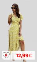 Vestido barato primavera-verano. Vestido amarillo mujer. Vestidos baratos Amazon Moda. Vestido Mujer Bohemio Largo Verano Playa Fiesta Floral/Polka Dot Maxi Vestidos Cóctel Falda Larga con Cinturón