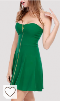 Vestido corto de color verde. Allegra K Vestido Verde Sin Tirantes con Cremallera Frontal A Line Minivestido De Fiesta Club Cóctel para Mujer