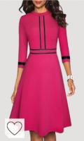 Vestido fucsia fiesta. HOMEYEE Vestido de cóctel Retro de Manga 3/4 con Cuello Redondo Vintage para Mujer A135