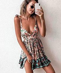 Mujer Vestido Bohemio Corto Sin Espalda Verano Florales Vestido Sexy Cuello en V Noche Vestidos de Playa
