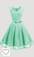 Dressystar Vestido Corto Elegante Mujer De Encaje Sin Mangas con Lazo para Madrina Fietsa. Vestido mujer color verde menta