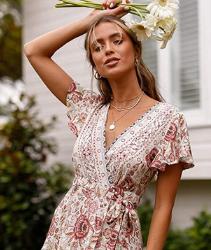 Vestido Corto Abravo Mujer Vestido Bohemio Corto Florales Nacional Verano Vestido Casual Magas Cortas Chic de Noche Playa Vacaciones