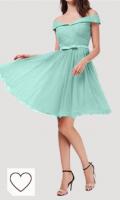 Vestido corto mujer color verde menta. Topkleider Vestido de fiesta para mujer de color rosa con hombros descubiertos, de tul, línea A, vestido corto de cóctel, vestido de noche