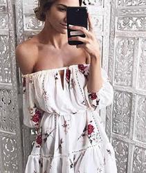 Vestido corto Overdose Verano De Las Mujeres Off Hombro Floral Sundress Bud Party Beach Slash Cuello Corto Mini Vestido
