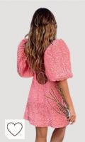 TSP Vestido floral rosa para mujer, manga abullonada ajustable, espalda ajustable, vestido de fiesta sexy, vestido de primavera y verano 2021, vestido de mujer (tamaño: L)