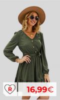Vestidos primavera baratos. Vestidos por menos de 20 euros. Vestido verde para mujer. Manga Larga T De Las Mujeres Cóctel Vestido A Media Pierna con Cuello En V Elástico Vestido Ocasional Vestido Cruzado De La Playa