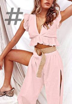 Ropa moda colores pastel, colores tendencia primavera verano 2021. Conjunto mujer para fiesta color rosa corazón. FANCYINN 2 Piezas Mujer Conjunto Fiesta Playa Verano Pantalon y Top