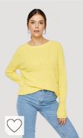 Jersey Mujer color amarillo. PIECES Pckarie LS O-Neck Knit Noos Suter Pulver para Mujer