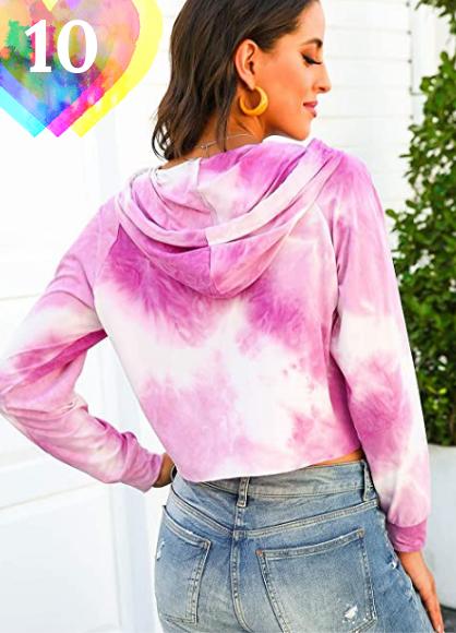 Sudadera rosa tie dye mujer para primavera 2021. FEOYA Mujer Sudaderas Tie-Dye con Capucha Manga Larga Casual de Moda Ropa Básica Suelta para Primavera Otoño