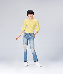 Blusa mujer de color amarilla. Marca Amazon - find. Camiseta Corta con Cuello Redondo Mujer