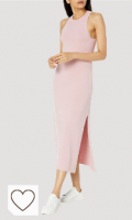 Vestido mujer color rosa pastel. Marca Amazon - Gabriela Maxivestido de Punto de Cuello Cerrado con Falda Evasé y Raja Lateral por The Drop