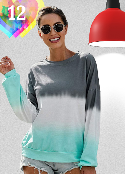 Sudadera Tie Dye mujer para primavera 2021. LUI SUI Sudadera de Bloque de Color para Mujer Camiseta de Manga Larga Tie Dye Cuello Redondo Pullover Tops