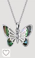 Fino color iridiscente cambiando concha de abulón arco iris & madre blanca de peral incrustar mariposa colgante collar para las mujeres para adolescente .925 plata de ley con cadena