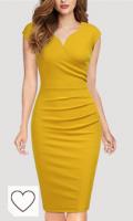 Vestido mujer de color amarillo. Miusol Lápiz Plisado Cuello en V Fiesta Vestido para Mujer