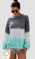 LUI SUI Sudadera de Bloque de Color para Mujer Camiseta de Manga Larga Tie Dye Cuello Redondo Pullover Tops