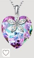 Alex Perry Regalos para Mujeres, Flor de Bauhinia Colgante de Corazón para Niñas, Plata de Ley 925, Cristales de Austria, Regalos de Cumpleaños para el día de la Madre de San Valentín para Mamá y Ella