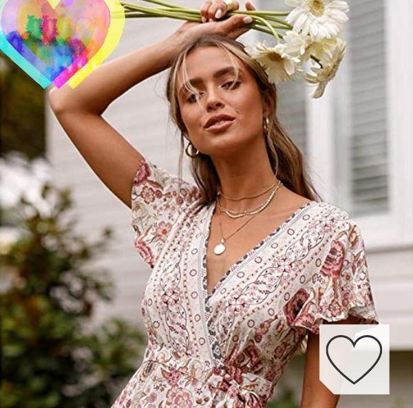 Tendencias en vestidos de flores para primavera-verano 2021. Abravo Mujer Vestido Bohemio Corto Florales Nacional Verano Vestido Casual Magas Cortas Chic de Noche Playa Vacaciones