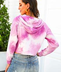 FEOYA Mujer Sudaderas Tie-Dye con Capucha Manga Larga Casual de Moda Ropa Básica Suelta para Primavera Otoño