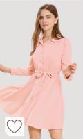 Vestido primavera color rosa pastel para mujer. Allegra K Vestido Entallado Y Acampanado Cuello Vuelto Cintura Elástica con Cinturón Botón para Mujer