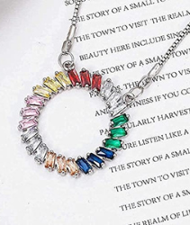 BACKZY MXJP Collar Geométrico Arcoíris Colorido Colgante Collar Micro Incrustaciones De Cristal De Circón Mujeres Encanto Collar Fiesta Joyería