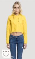 Sudadera Mujer de color amarillo. Urban Classics Ladies Interlock Short Hoody Sudadera con Capucha para Mujer