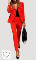 Chaqueta blazer mujer de color rojo. Chaqueta Blazer para Mujer Traje de Manga Larga Cuello de Solapa con Botones Casual Elegante para Trabajo Oficina Negocio OL