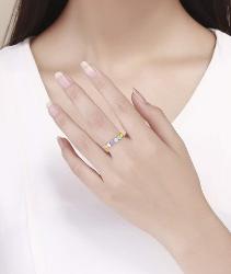 yunyu Anillo de corazón arcoíris Color de corazón a corazón Corazón de Amor sin Fin 925 Anillo de Moda Exquisito de Plata esterlina como Regalo para Novia