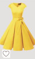 Vestido Retro de color amarillo. DRESSTELLS Mujer Vestido Corto Mujer Retro Años 50 Vintage Vestido de Cóctel de color amarillo