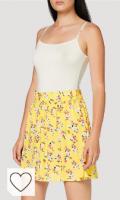 Falda de color amarillo. PIECES Pcnya MW Skirt PB Falda para Mujer