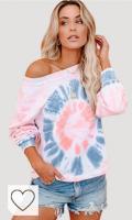 EFOFEI Sudadera para mujer Tie-Dye sin tirantes, de arcoíris, camiseta de manga larga con tinta casual. L-rosa y gris. L