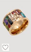 Anillo de cristal para mujer, anel, acero inoxidable 316L, color arcoíris, 7