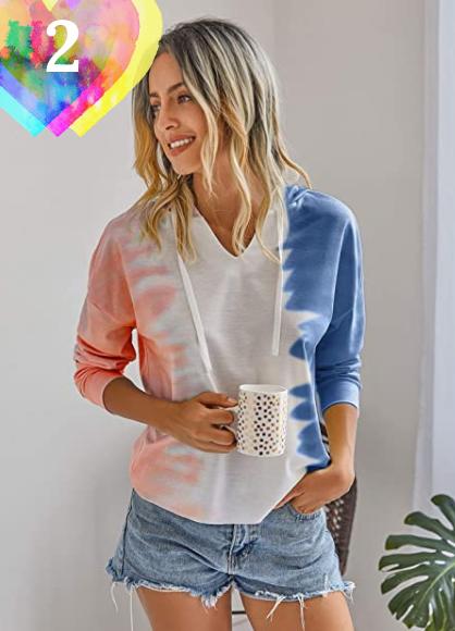 Sudadera Tie Dye Mujer primavera 2021. Famulily Sudadera con capucha para mujer, cuello en V, bloque de color, manga larga, con capucha
