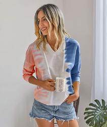 Famulily Sudadera con capucha para mujer, cuello en V, bloque de color, manga larga, con capucha